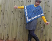 Vintage 70s Blue and White Crochet Cape/Poncho