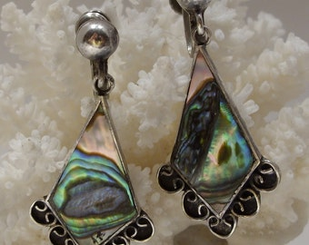 Abalone and Sterling Taxco Screw Back Earrings Signed J Sotllo