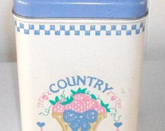 Vintage Country Fresh Tin Canister with Magic Beads, Farm house Tin Box, Made in USA, Storage Tin