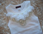 Girls Tank White Tank Top  with Off White Chiffon and Pearl Collar