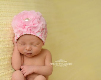 Pink Damask Infant Baby Girl Beanie Hat with Chiffon Flower and Pearl