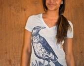 Womens Bird Shirt - Marble Shirt - Womens V Neck T Shirt - Deep V Neck - Crow Art - Crow Shirt