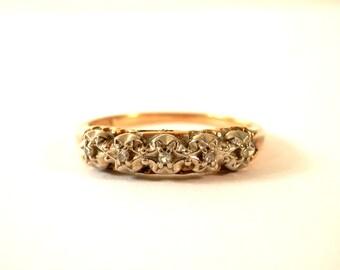 c.1909 14K Gold and Diamond Wedding Ring