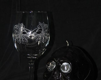 hand etched  elegant Masquerade Mask wine glasses
