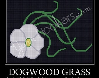 Dogwood Grass - Flower - Afghan Crochet Graph Pattern Chart - Instant Download