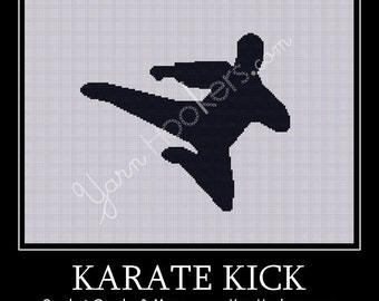 Boy Karate Kick - Afghan Crochet Graph Pattern Chart - Instant Download