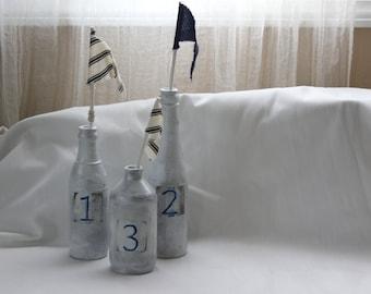 Set of Three White  Silver Gray 123  Nautical Bottles Décor #1502