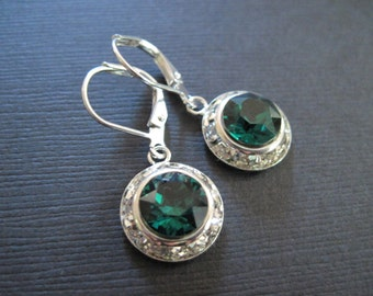 Swarovski Emerald Earrings/Bridesmaid Earrings/Green Crystal Earrings/Crystal Halo Earrings/Emerald Crystal Earrings/Emerald Earrings