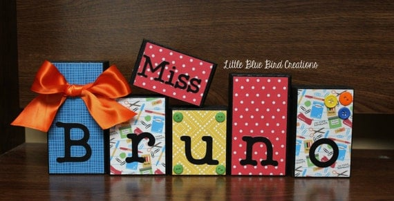 Teachers Name Wooden Block Set Custom Teacher gift Classroom decor personalized