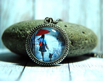"""1"""" Round Glass Pendant Necklace or Key Chain  - Woman with Red Umbrella"""
