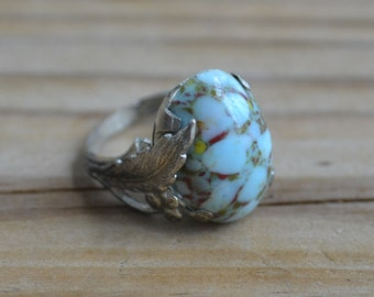 Beautiful antique late art deco silver tone cocktail ring with turquoise glass gem