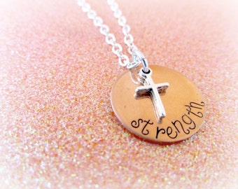 Strength Necklace - Hand Stamped Personalized Necklace - Cross Charm Necklace - Religious Gifts for Her - Grief Gifts - STRENGTH