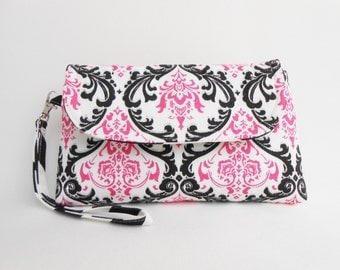 Pink White Black  Wristlet Clutch