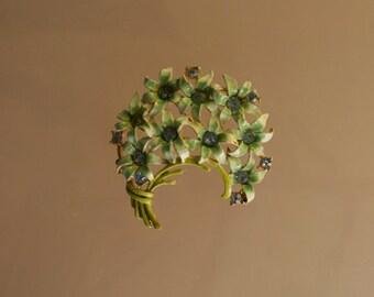 Green Enamel Cluster Flower Pin with Rhinestones 1960s Vintage