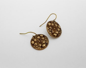 Bronze Metal Clay Earrings, Gold Earrings, Leaves and Dots, Shield, Floral Earrings, Sensitive Ears