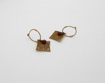 Bronze Metal Clay Earrings, Gold Earrings, Beaded, Diamond Earrings, Hoop Earrings, Sensitive Ears