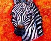 Original 11 x 14  Zebra Acrylic Painting, Safari, Passion, Fire. Africa, Home Decor, Kid's Room, Red, Orange, Wall Art, Nature, Boy's Room,