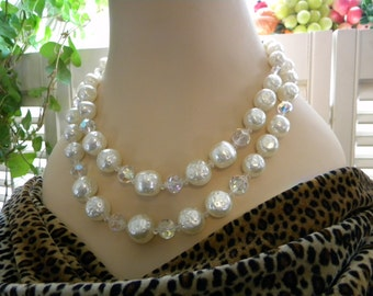 Snowy Vintage Baroque Pearl and Austrian Crystal Necklace