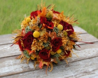 Preserved Bridal Bouquets and Boutonnieres - Autumn Hues