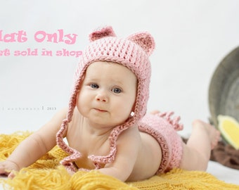 Pinky the Pig Crocheted Earflap HAT ONLY- Made to Order- Any Size