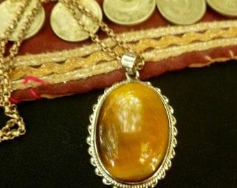 Tiger Eye Medallion. Ethnic Pendant. Sterling Silver & Tiger Eye. Gemstone Jewelry