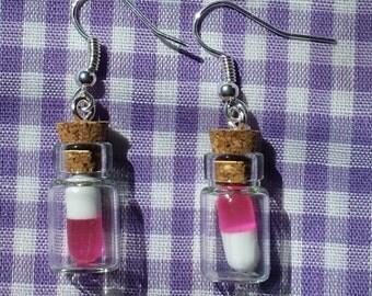 Pill bottle earrings medicine bottle earrings glass vial for Pill bottle jewelry