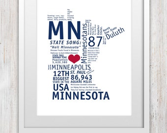 Minnesota Art Print (8x10, Blue + Red)