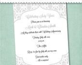 60th Diamond Anniversary Invitation - Digital File or Printed Invitations with Envelopes - FREE SHIPPING