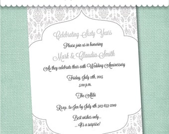 60th Diamond Anniversary Invitation - Digital File or Printed Invitations with Envelopes - FREE SHIPPING