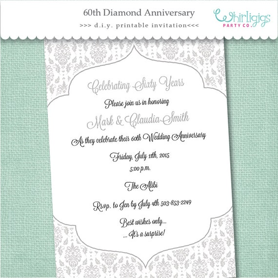 60th diamond anniversary invitation digital file or for Free printable 60th wedding anniversary invitations