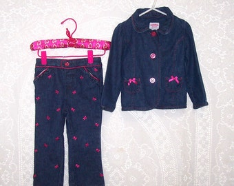 Size 24 month - 2 Piece Pants and Jacket Set - from Toughskins - Blue - Denim - Pink - Bows - all cotton