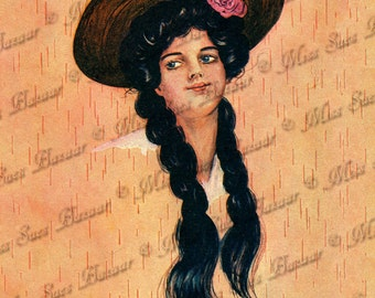 Instant Download or Print - Cowgirl in braids (C12)