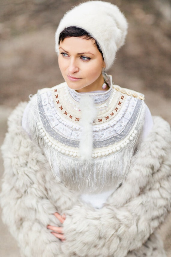 Bohemian Bridal Necklace White Fringe Collar Handmade Wedding Jewelry,for Bride