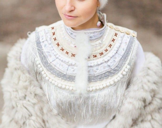 Bohemian Bridal Necklace White Fringe Collar Handmade Wedding Jewelry, for Bride, Wedding Jewelry, White Bridal necklace
