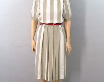 80's SECRETARY Dress 80's Dress Striped Dress White and Tan Dress Pleated Dress Sexy Dress Midi Dress 70's Dress 70's Secretary Dress Medium