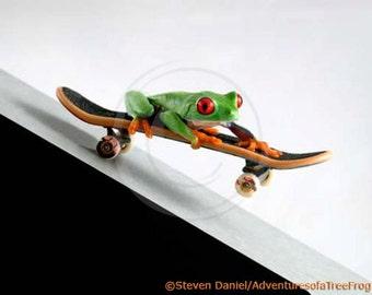 Skateboard - LIVE Frog - Skateboard Art - Kickflip, Heelflip, Children's Wall Art - Skateboarding