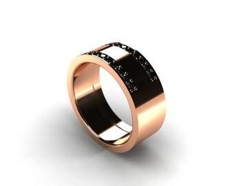 Black Diamond ring, mens wedding band, rose Gold, men diamond ring, mens modern band, men black diamond wedding, white gold, yellow gold