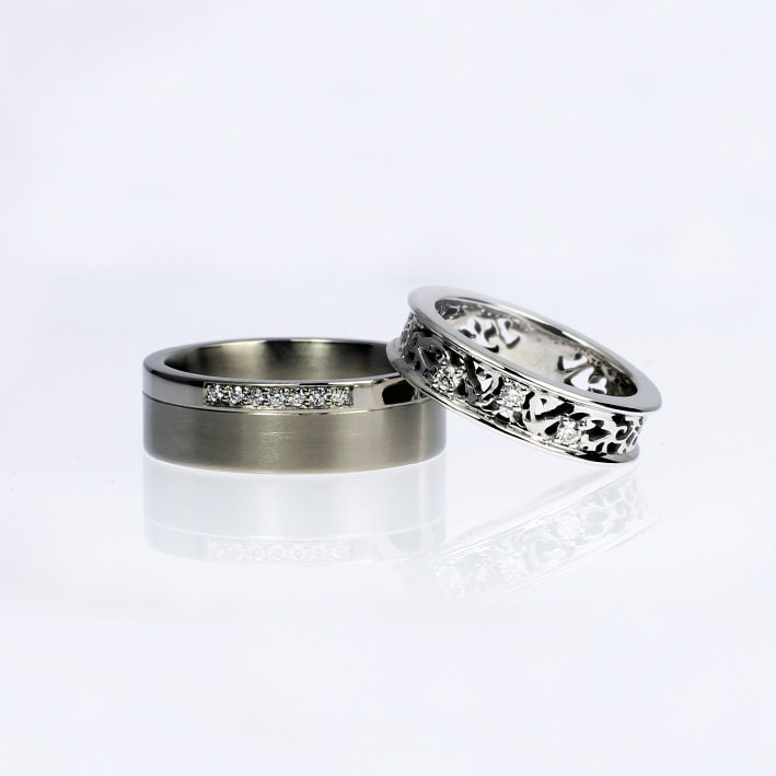 Diamond wedding ring set filigree wedding ring palladium for Palladium wedding ring