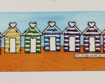 Rainbow Beach Hut greetings card