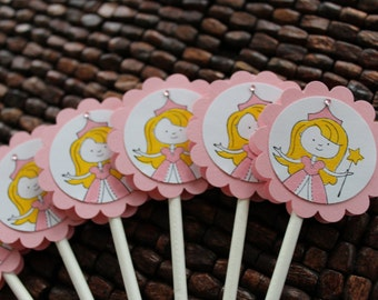 Princess Cupcake Toppers - set of 12- Girly Birthday Party