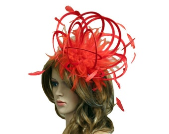 Red Satin  Feather Fascinator Hat - wedding, ladies day, Mother of the Bride - choose any colour feathers & satin