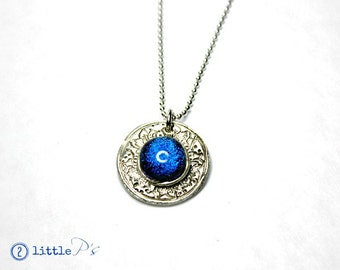 Cool Art Jewelry ~ Blue Glass Stone Necklace, Desert Flower Art Glass and Silver Pendant