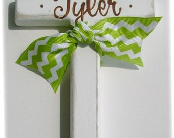Green chevron hand painted childs personalized wooden wall cross with ribbon