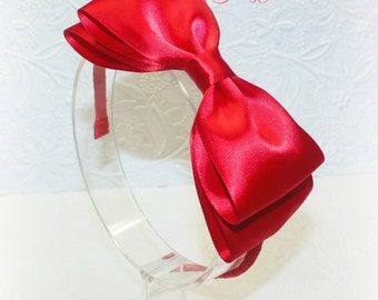 Red Satin Bow on Plastic Headband. Snow White Headband. Baby Headband. Girl Headband. Women Headband.