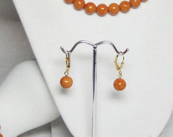 Brown Rust Riverstone Earrings Beaded Amber Fall Autumn Jewelry