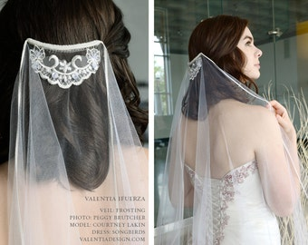 """Veil with Delicate Lace Accent - """"FROSTING"""""""