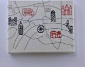Framed London Embroidered Map, Illustrated