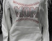 Baseball Mom with Stitching Ladies Rhinestone Sweat Shirt Hoodie