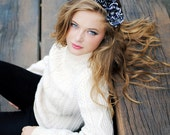 Black flower crown with white pattern / Flower headband for women
