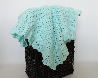Crochet Baby Blanket Shell Afghan Mint Green - BabyBoy, Baby Girl, Crib Bedding, Baby Gift, Nursery Decor, Baby Accessories Lap Afghan